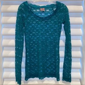 Lace mesh long sleeve